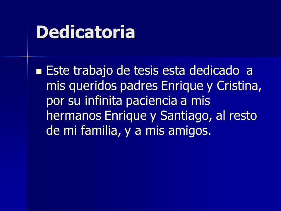 Dedicatoria Este trabajo de tesis esta dedicado a mis queridos padres Enrique y Cristina, por su infinita paciencia a mis hermanos Enrique y Santiago, al resto de mi familia, y a mis amigos.