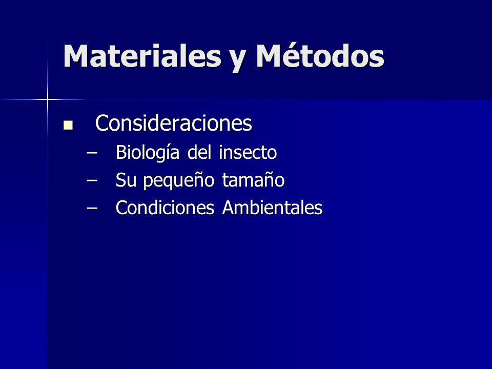 Materiales y Métodos Consideraciones Consideraciones –Biología del insecto –Su pequeño tamaño –Condiciones Ambientales