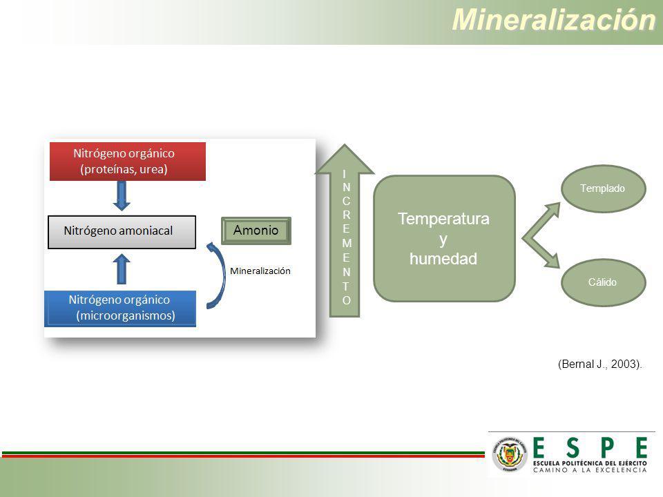 Mineralización Temperatura y humedad Templado Cálido (Bernal J., 2003). Amonio