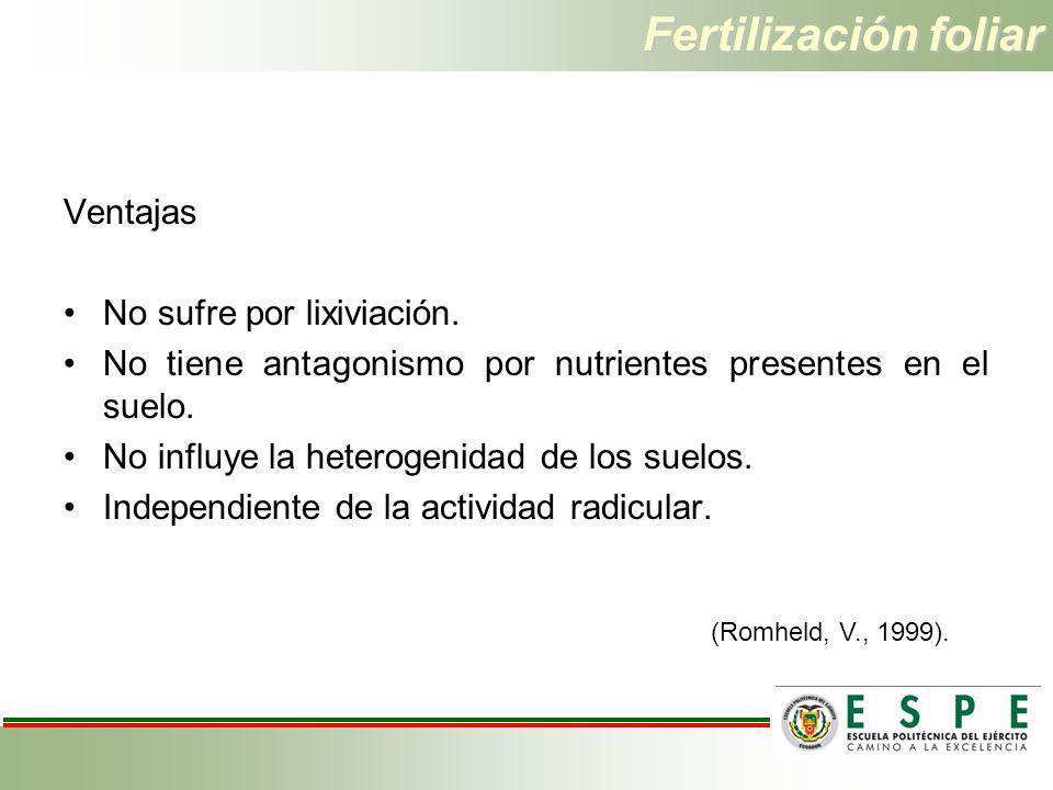 Fertilización foliar Ventajas No sufre por lixiviación. No tiene antagonismo por nutrientes presentes en el suelo. No influye la heterogenidad de los