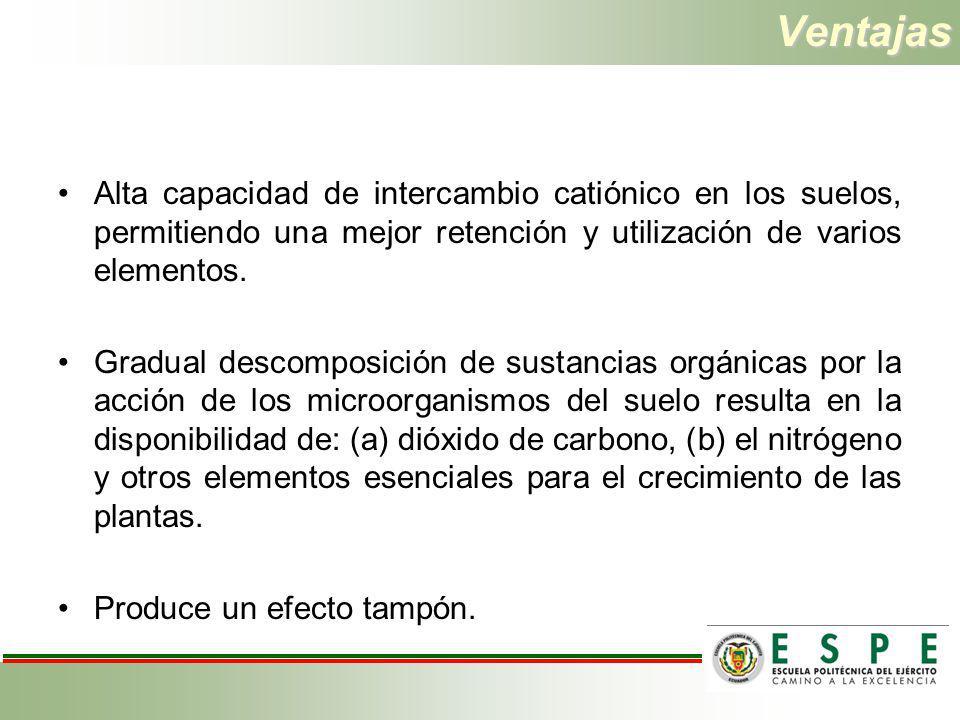 Ventajas Alta capacidad de intercambio catiónico en los suelos, permitiendo una mejor retención y utilización de varios elementos. Gradual descomposic