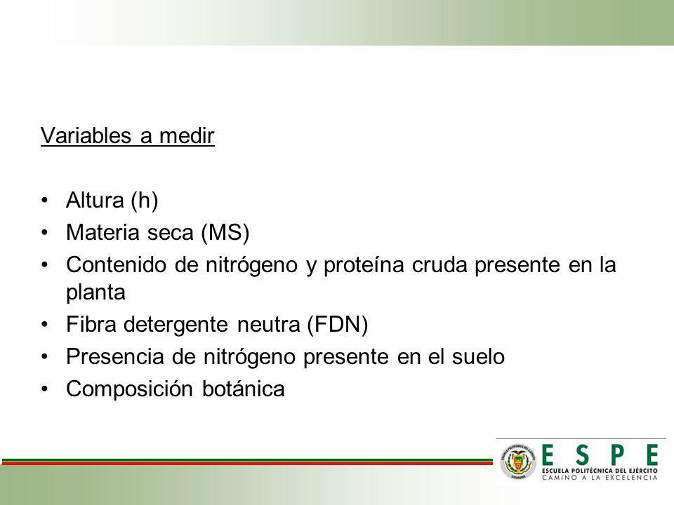 Variables a medir Altura (h) Materia seca (MS) Contenido de nitrógeno y proteína cruda presente en la planta Fibra detergente neutra (FDN) Presencia d