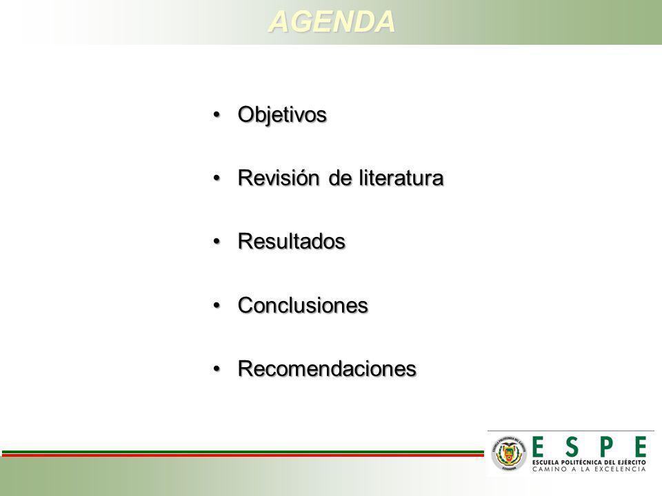 AGENDA ObjetivosObjetivos Revisión de literaturaRevisión de literatura ResultadosResultados ConclusionesConclusiones RecomendacionesRecomendaciones