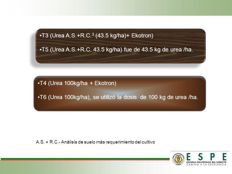 T3 (Urea A.S.+R.C. 3 (43.5 kg/ha)+ Ekotron) T5 (Urea A.S.+R.C. 43.5 kg/ha) fue de 43.5 kg de urea /ha. T3 (Urea A.S.+R.C. 3 (43.5 kg/ha)+ Ekotron) T5