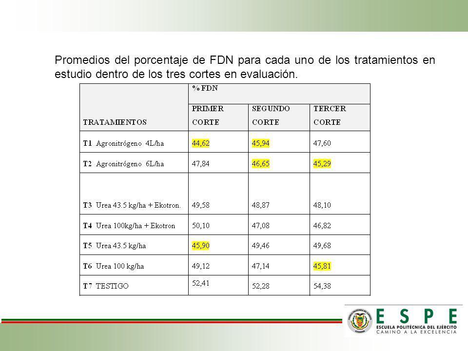Promedios del porcentaje de FDN para cada uno de los tratamientos en estudio dentro de los tres cortes en evaluación.