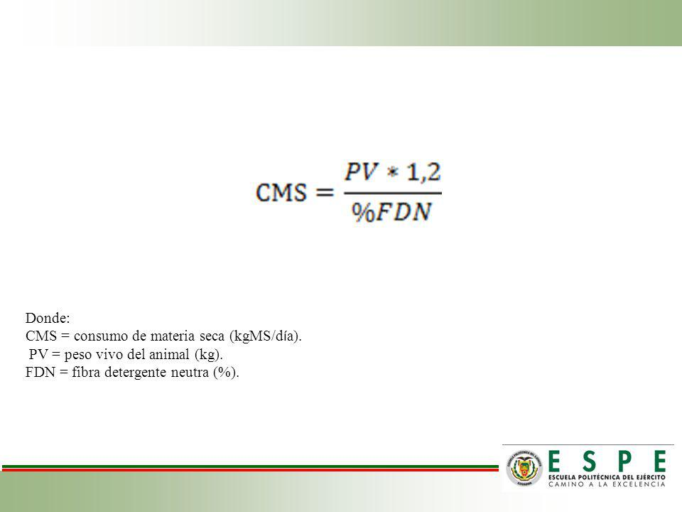 Donde: CMS = consumo de materia seca (kgMS/d í a). PV = peso vivo del animal (kg). FDN = fibra detergente neutra (%).