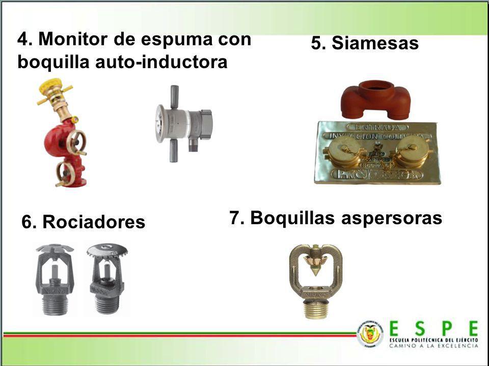 4. Monitor de espuma con boquilla auto-inductora 5. Siamesas 6. Rociadores 7. Boquillas aspersoras