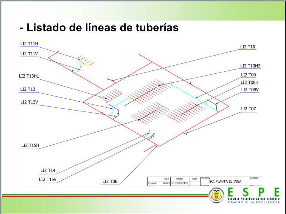 - Listado de líneas de tuberías