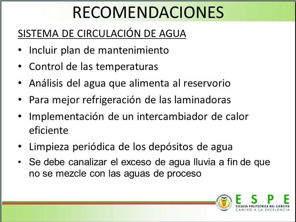 RECOMENDACIONES SISTEMA DE CIRCULACIÓN DE AGUA Incluir plan de mantenimiento Control de las temperaturas Análisis del agua que alimenta al reservorio