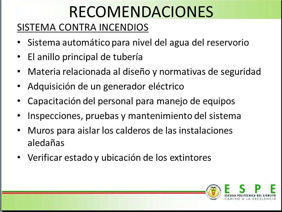 RECOMENDACIONES SISTEMA CONTRA INCENDIOS Sistema automático para nivel del agua del reservorio El anillo principal de tubería Materia relacionada al d