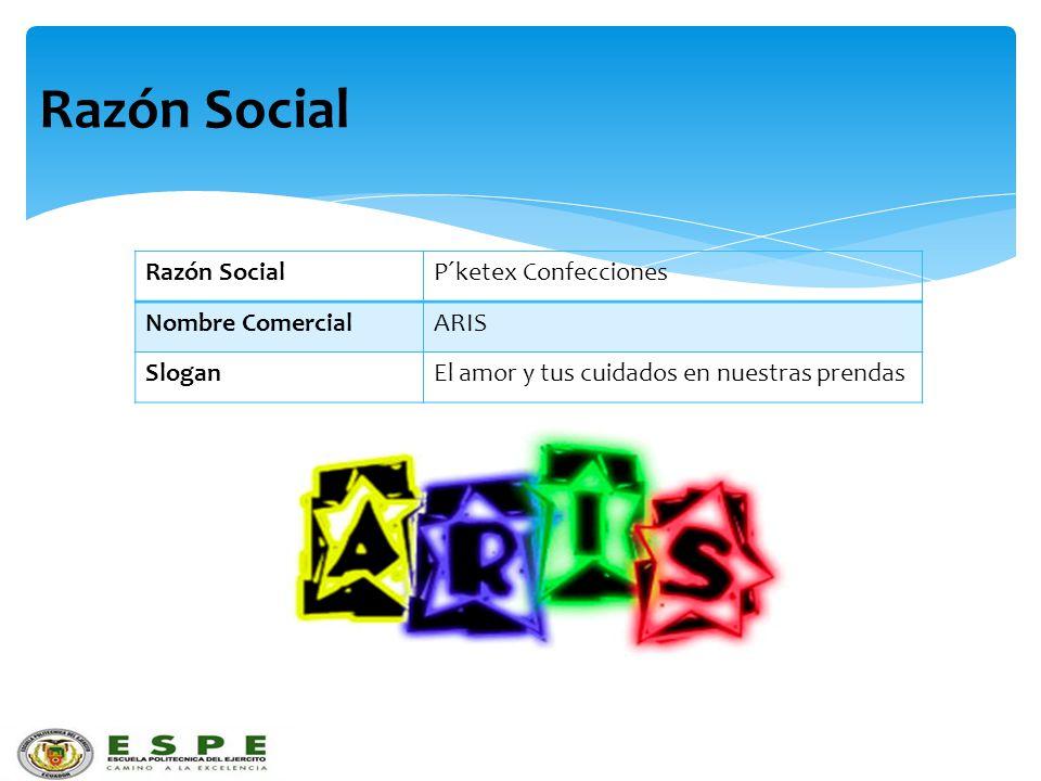 Razón Social P´ketex Confecciones Nombre ComercialARIS SloganEl amor y tus cuidados en nuestras prendas