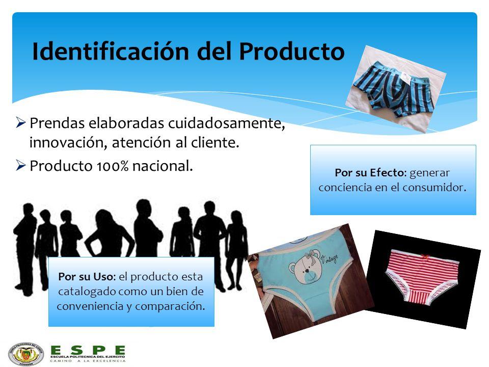 Identificación del Producto Prendas elaboradas cuidadosamente, innovación, atención al cliente. Producto 100% nacional. Por su Uso: el producto esta c