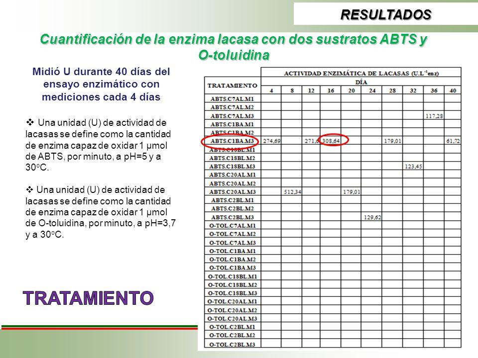 RESULTADOS Cuantificación de la enzima lacasa con dos sustratos ABTS y O-toluidina Midió U durante 40 días del ensayo enzimático con mediciones cada 4