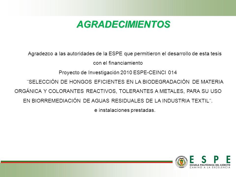 AGRADECIMIENTOS Agradezco a las autoridades de la ESPE que permitieron el desarrollo de esta tesis con el financiamiento Proyecto de Investigación 201