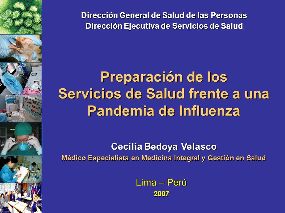 Preparación de los Servicios de Salud frente a una Pandemia de Influenza Lima – Perú 2007 Dirección General de Salud de las Personas Dirección Ejecuti
