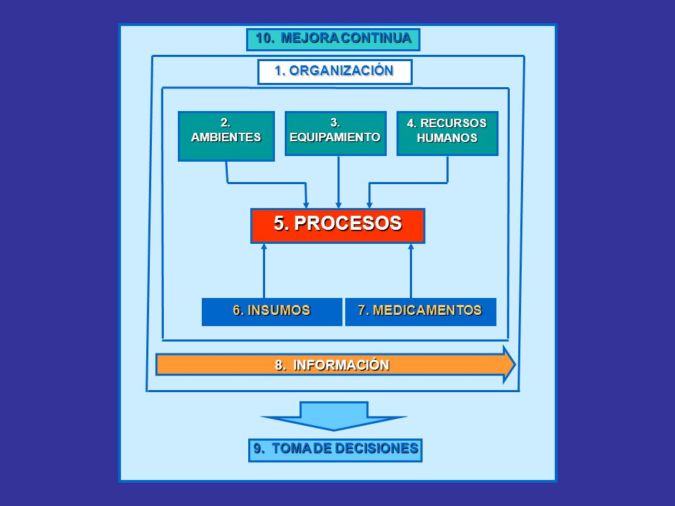 5. PROCESOS 2. AMBIENTES 1. ORGANIZACIÓN 8. INFORMACIÓN 7. MEDICAMENTOS 6. INSUMOS 3. EQUIPAMIENTO 4. RECURSOS HUMANOS 9. TOMA DE DECISIONES 10. MEJOR