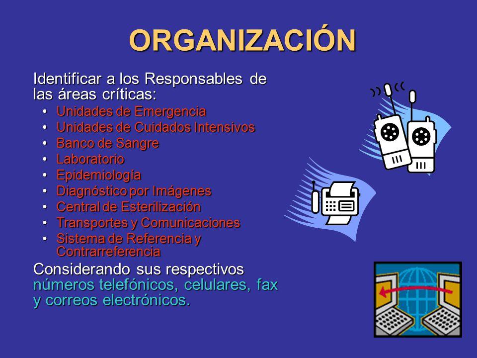 ORGANIZACIÓN Identificar a los Responsables de las áreas críticas: Unidades de EmergenciaUnidades de Emergencia Unidades de Cuidados IntensivosUnidade