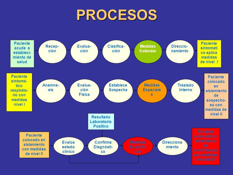 PROCESOS Evalua- ción Clasifica- ción Medidas Estándar Direccio- namiento Recep- ción Paciente acude a estableci- miento de salud Paciente sintomáti c