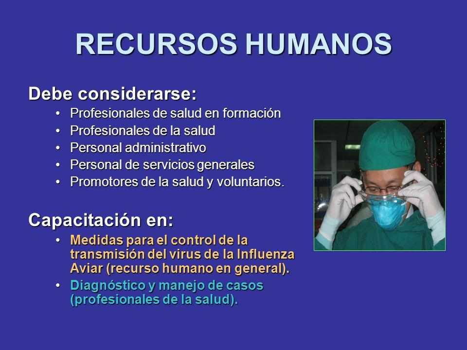 RECURSOS HUMANOS Debe considerarse: Profesionales de salud en formaciónProfesionales de salud en formación Profesionales de la saludProfesionales de l