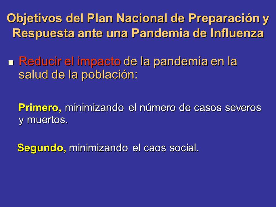 Objetivos del Plan Nacional de Preparación y Respuesta ante una Pandemia de Influenza Reducir el impacto de la pandemia en la salud de la población: R