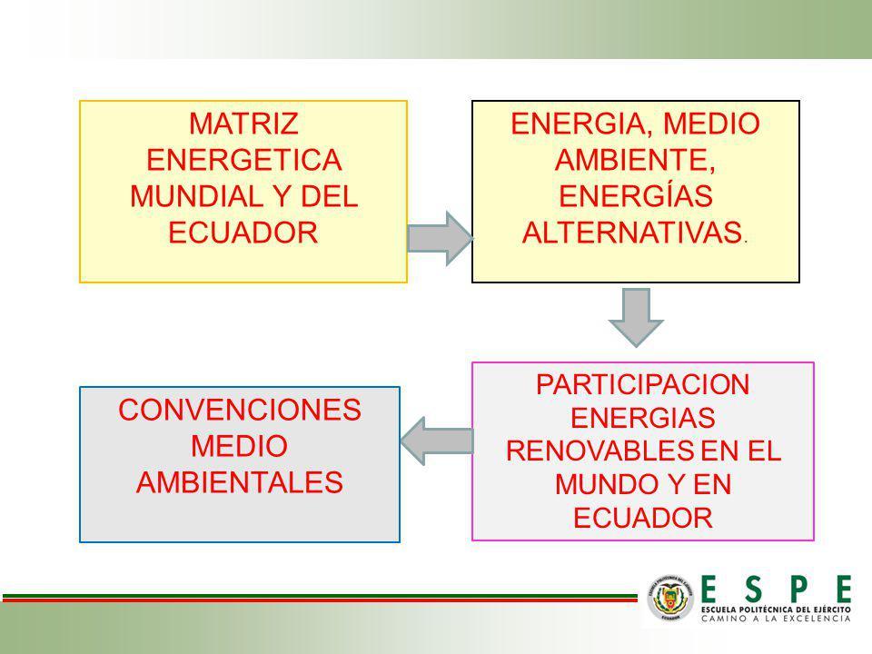 MATRIZ ENERGETICA MUNDIAL Y DEL ECUADOR ENERGIA, MEDIO AMBIENTE, ENERGÍAS ALTERNATIVAS. PARTICIPACION ENERGIAS RENOVABLES EN EL MUNDO Y EN ECUADOR CON