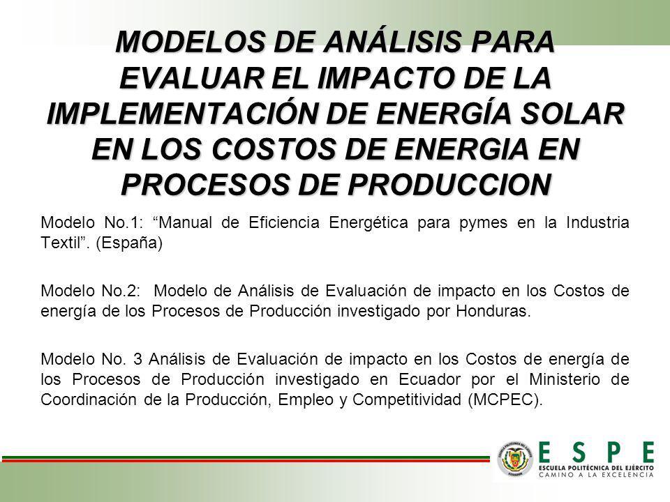 MODELOS DE ANÁLISIS PARA EVALUAR EL IMPACTO DE LA IMPLEMENTACIÓN DE ENERGÍA SOLAR EN LOS COSTOS DE ENERGIA EN PROCESOS DE PRODUCCION Modelo No.1: Manu