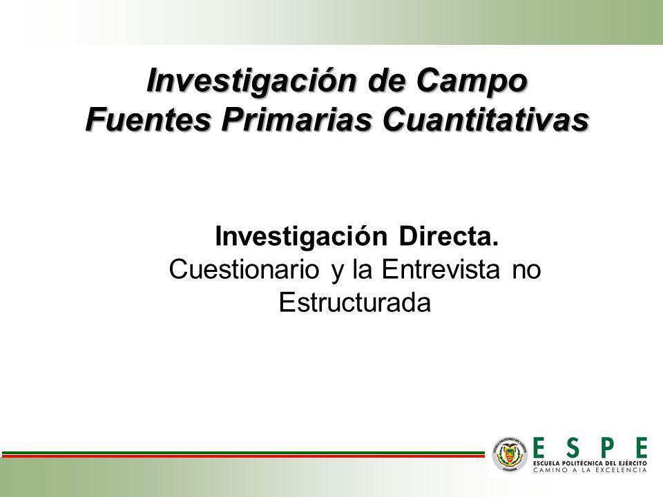Investigación de Campo Fuentes Primarias Cuantitativas Investigación Directa. Cuestionario y la Entrevista no Estructurada