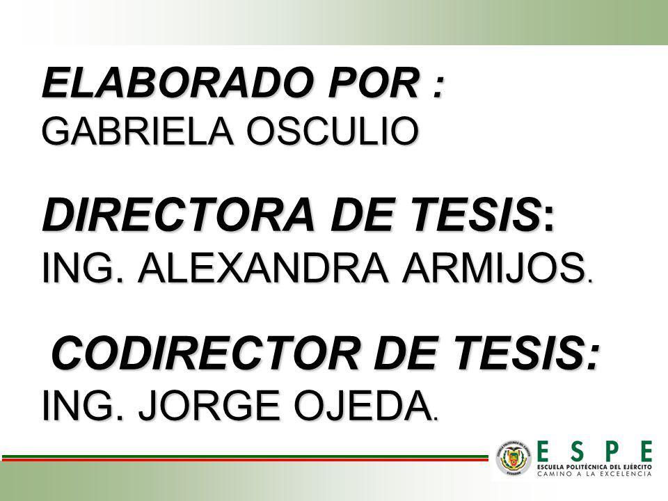 ELABORADO POR : GABRIELA OSCULIO DIRECTORA DE TESIS: ING. ALEXANDRA ARMIJOS. CODIRECTOR DE TESIS: ING. JORGE OJEDA.