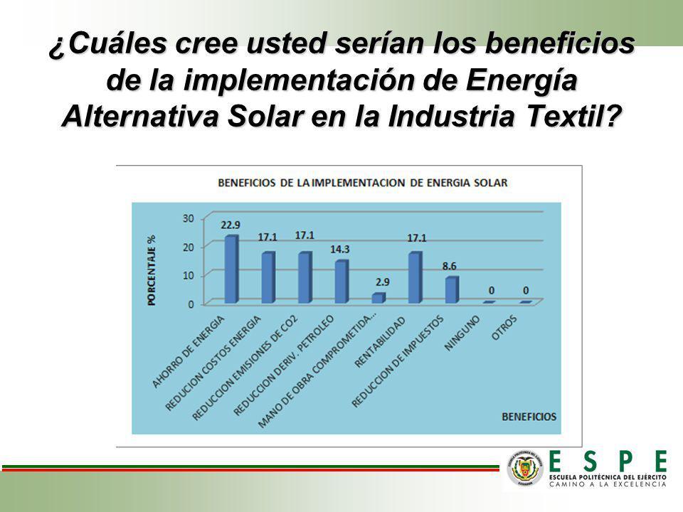 ¿Cuáles cree usted serían los beneficios de la implementación de Energía Alternativa Solar en la Industria Textil?
