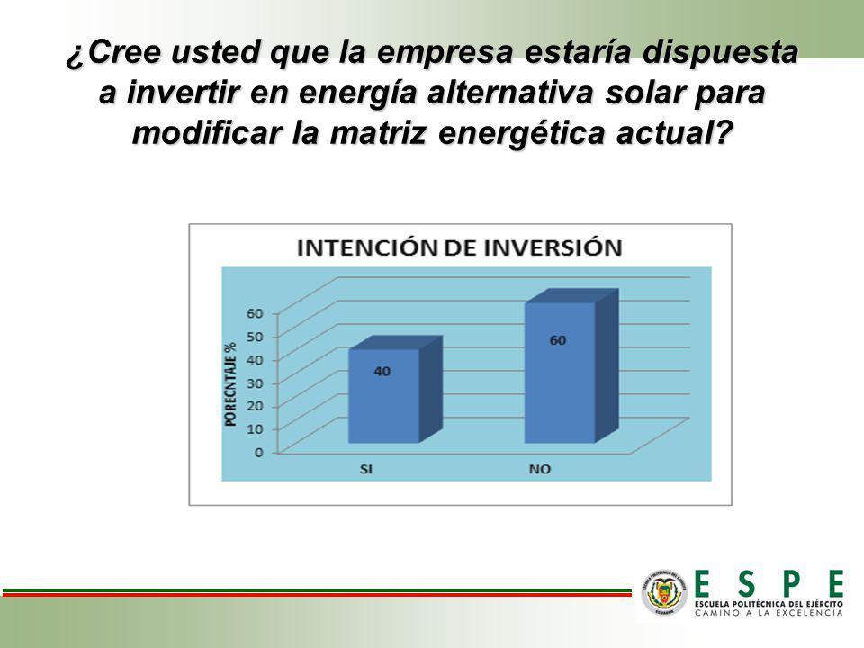 ¿Cree usted que la empresa estaría dispuesta a invertir en energía alternativa solar para modificar la matriz energética actual?