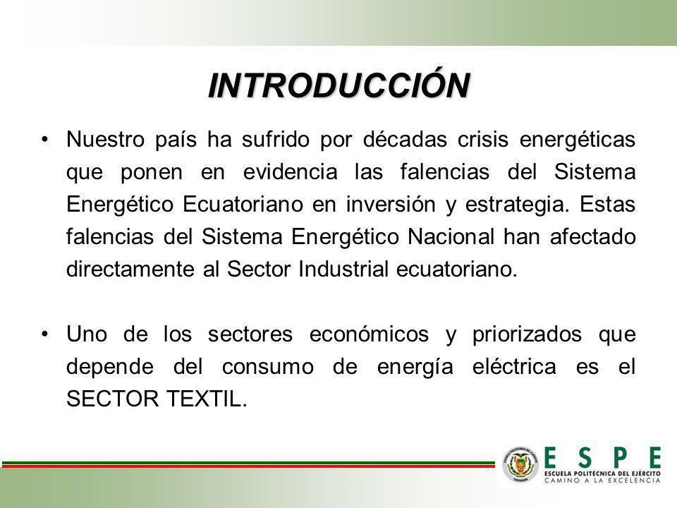 INTRODUCCIÓN Nuestro país ha sufrido por décadas crisis energéticas que ponen en evidencia las falencias del Sistema Energético Ecuatoriano en inversi