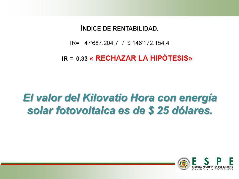 ÍNDICE DE RENTABILIDAD. IR= 47687.204,7 / $ 146172.154,4 IR = 0,33 « RECHAZAR LA HIPÓTESIS» El valor del Kilovatio Hora con energía solar fotovoltaica
