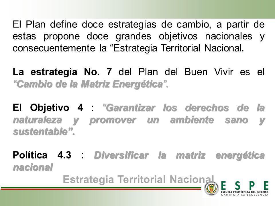 El Plan define doce estrategias de cambio, a partir de estas propone doce grandes objetivos nacionales y consecuentemente la Estrategia Territorial Na