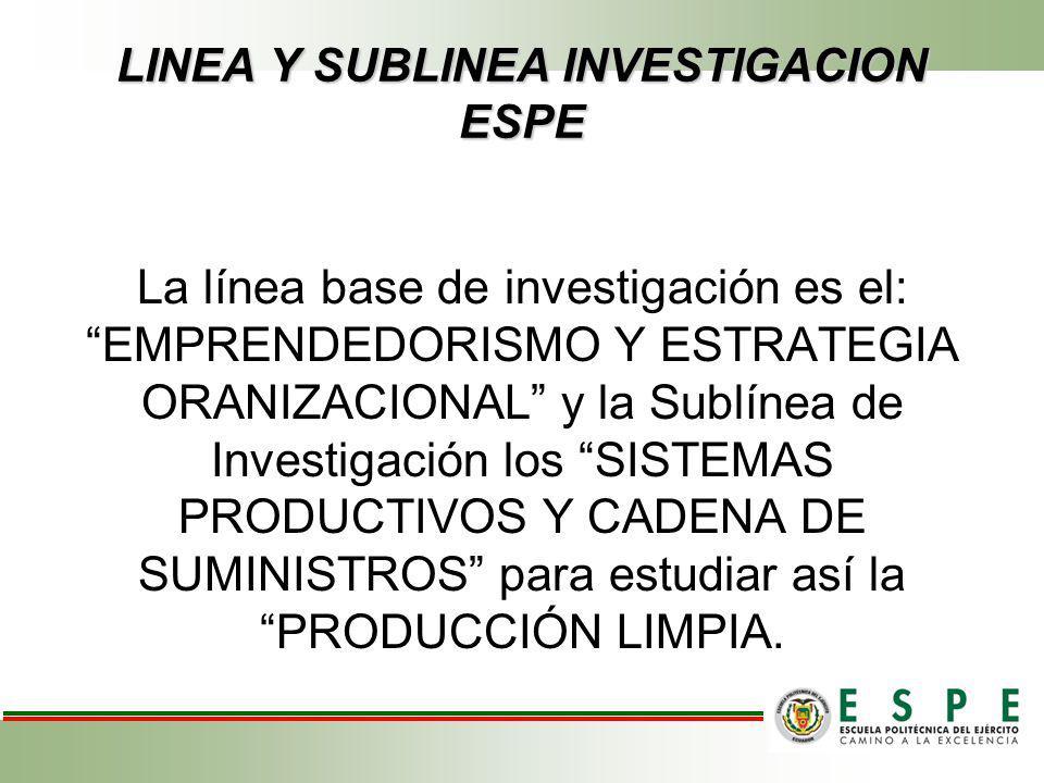 LINEA Y SUBLINEA INVESTIGACION ESPE La línea base de investigación es el: EMPRENDEDORISMO Y ESTRATEGIA ORANIZACIONAL y la Sublínea de Investigación lo