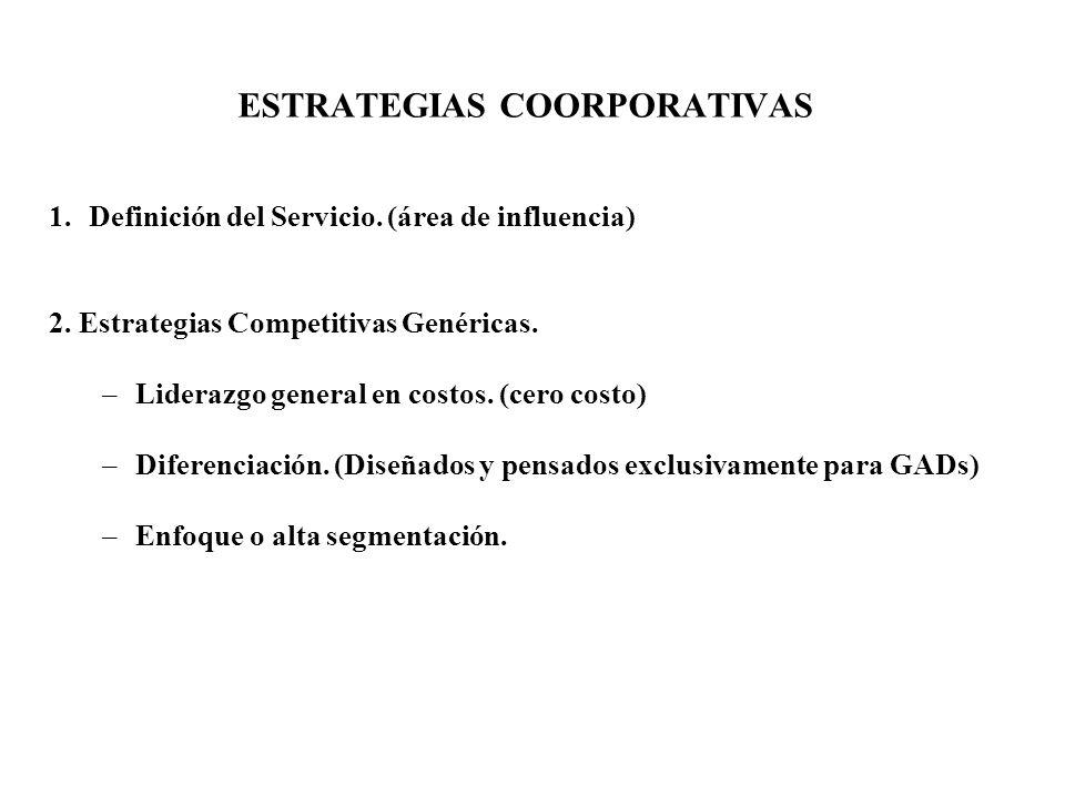 ESTRATEGIAS COORPORATIVAS 1.Definición del Servicio. (área de influencia) 2. Estrategias Competitivas Genéricas. –Liderazgo general en costos. (cero c