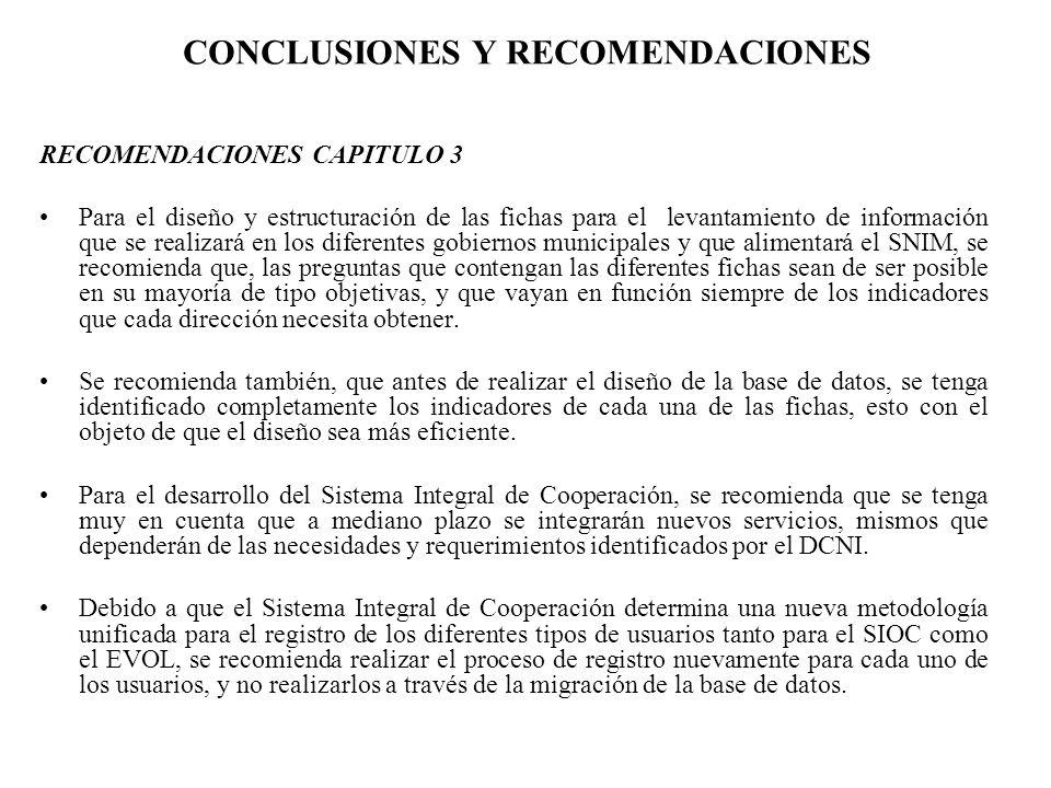 CONCLUSIONES Y RECOMENDACIONES RECOMENDACIONES CAPITULO 3 Para el diseño y estructuración de las fichas para el levantamiento de información que se re