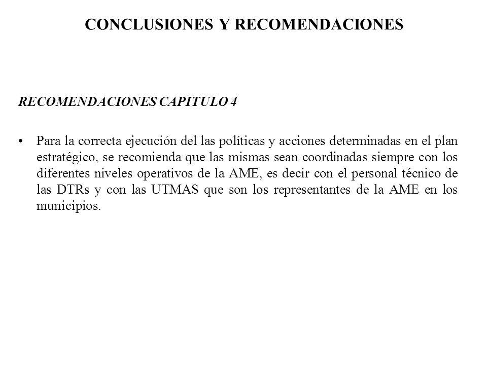 CONCLUSIONES Y RECOMENDACIONES RECOMENDACIONES CAPITULO 4 Para la correcta ejecución del las políticas y acciones determinadas en el plan estratégico,