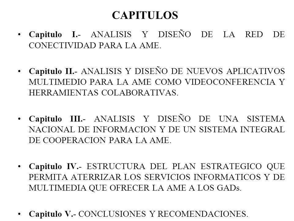 CAPITULOS Capitulo I.- ANALISIS Y DISEÑO DE LA RED DE CONECTIVIDAD PARA LA AME. Capitulo II.- ANALISIS Y DISEÑO DE NUEVOS APLICATIVOS MULTIMEDIO PARA