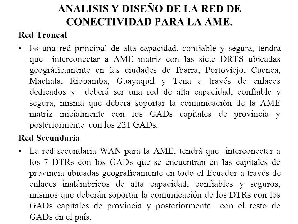 ANALISIS Y DISEÑO DE LA RED DE CONECTIVIDAD PARA LA AME. Red Troncal Es una red principal de alta capacidad, confiable y segura, tendrá que interconec