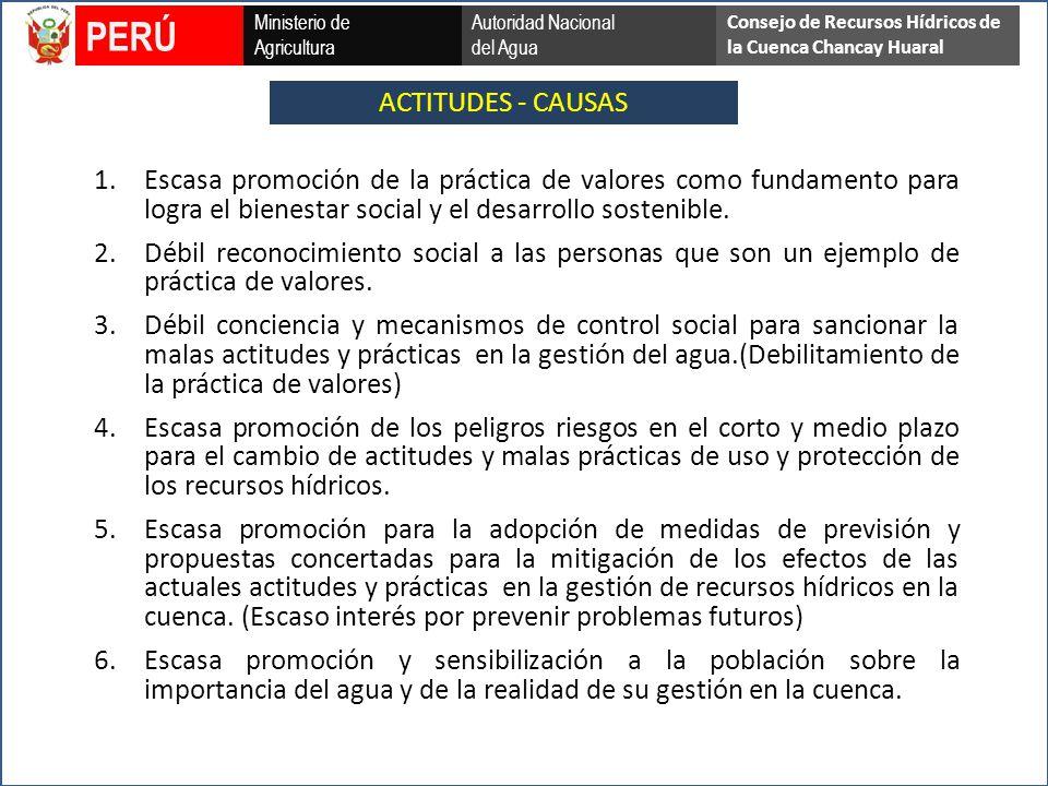 ACTITUDES - CAUSAS Ministerio de Agricultura Autoridad Nacional del Agua PERÚ Consejo de Recursos Hídricos de la Cuenca Chancay Huaral 1.Escasa promoción de la práctica de valores como fundamento para logra el bienestar social y el desarrollo sostenible.