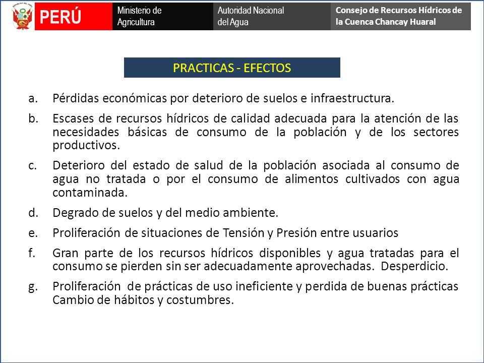PRACTICAS - EFECTOS Ministerio de Agricultura Autoridad Nacional del Agua PERÚ Consejo de Recursos Hídricos de la Cuenca Chancay Huaral a.Pérdidas económicas por deterioro de suelos e infraestructura.