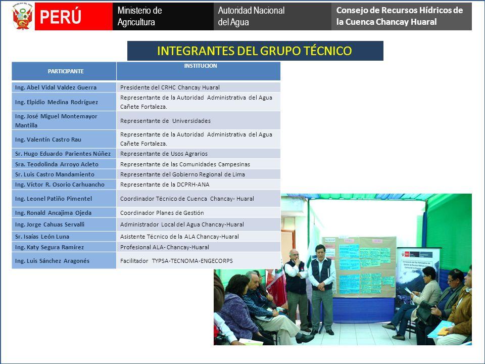 INTEGRANTES DEL GRUPO TÉCNICO Ministerio de Agricultura Autoridad Nacional del Agua PERÚ Consejo de Recursos Hídricos de la Cuenca Chancay Huaral PARTICIPANTE INSTITUCION Ing.
