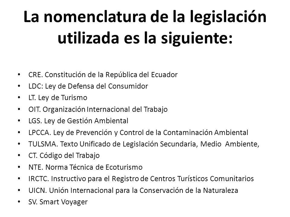 La nomenclatura de la legislación utilizada es la siguiente: CRE. Constitución de la República del Ecuador LDC: Ley de Defensa del Consumidor LT. Ley