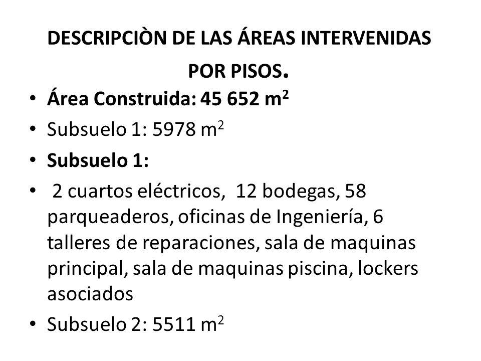 DESCRIPCIÒN DE LAS ÁREAS INTERVENIDAS POR PISOS. Área Construida: 45 652 m 2 Subsuelo 1: 5978 m 2 Subsuelo 1: 2 cuartos eléctricos, 12 bodegas, 58 par