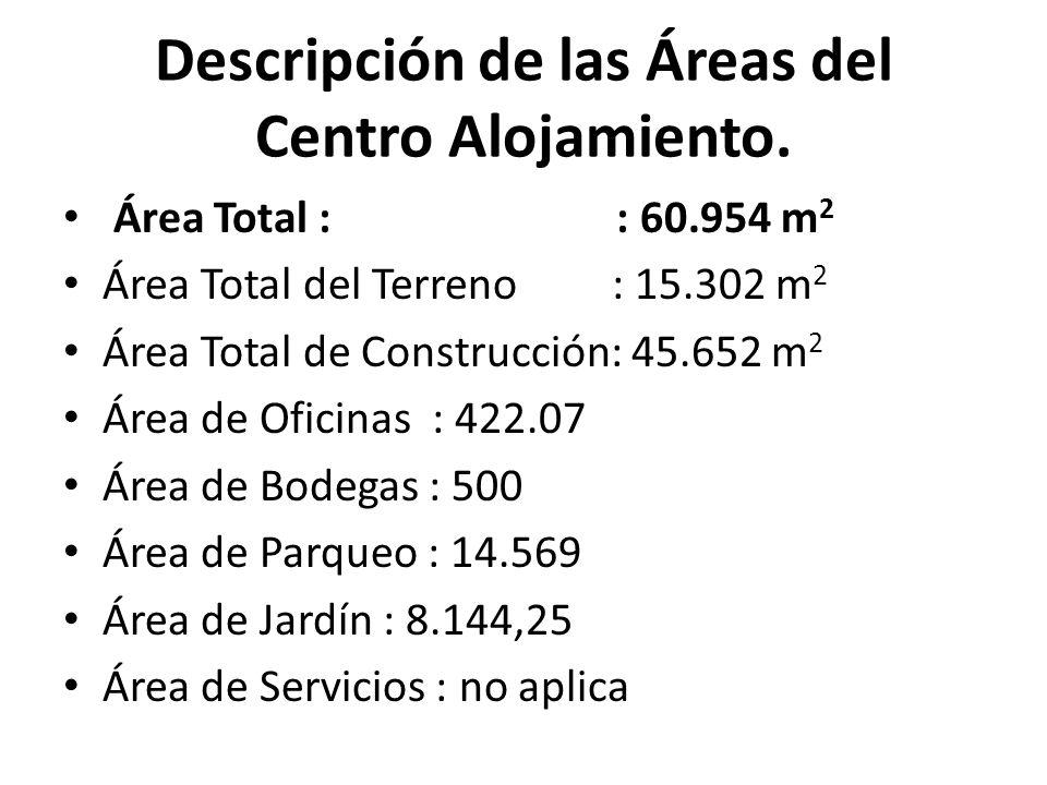 Descripción de las Áreas del Centro Alojamiento. Área Total : : 60.954 m 2 Área Total del Terreno : 15.302 m 2 Área Total de Construcción: 45.652 m 2
