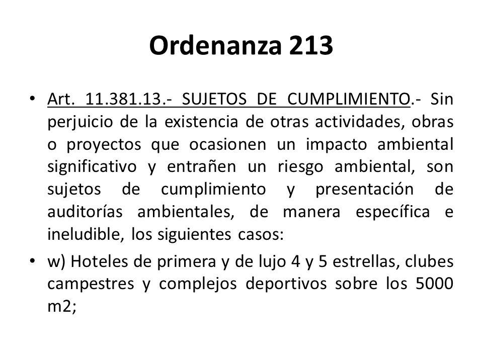 Ordenanza 213 Art. 11.381.13.- SUJETOS DE CUMPLIMIENTO.- Sin perjuicio de la existencia de otras actividades, obras o proyectos que ocasionen un impac