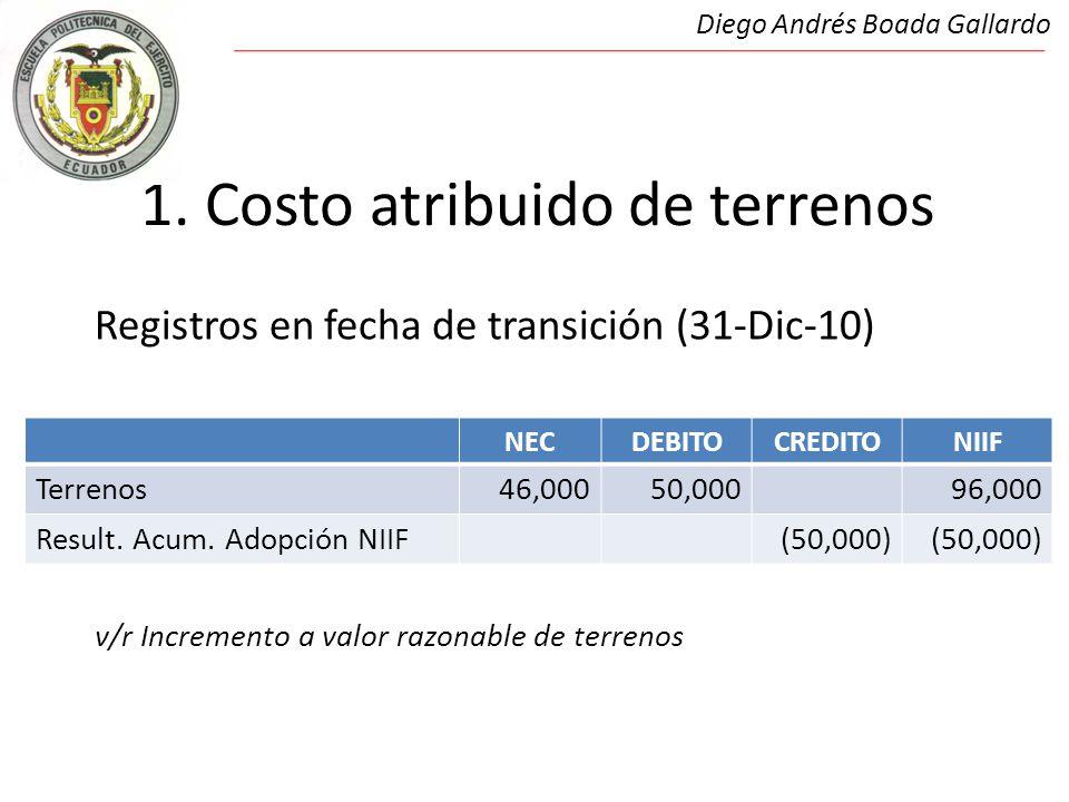 1. Costo atribuido de terrenos Registros en fecha de transición (31-Dic-10) v/r Incremento a valor razonable de terrenos Diego Andrés Boada Gallardo N