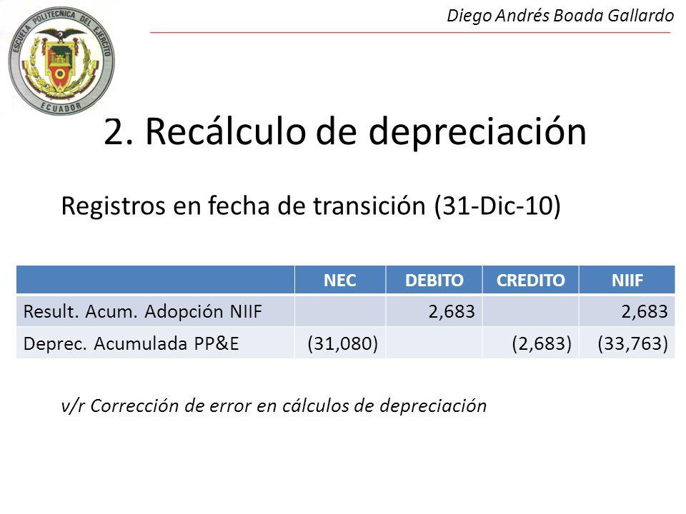 2. Recálculo de depreciación Registros en fecha de transición (31-Dic-10) 2.Recálculos de depreciación v/r Corrección de error en cálculos de deprecia
