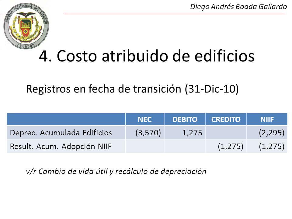 4. Costo atribuido de edificios Registros en fecha de transición (31-Dic-10) Costo atribuido de Edificios v/r Cambio de vida útil y recálculo de depre