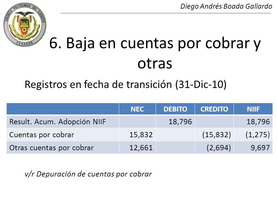 6. Baja en cuentas por cobrar y otras Registros en fecha de transición (31-Dic-10) v/r Depuración de cuentas por cobrar Diego Andrés Boada Gallardo NE